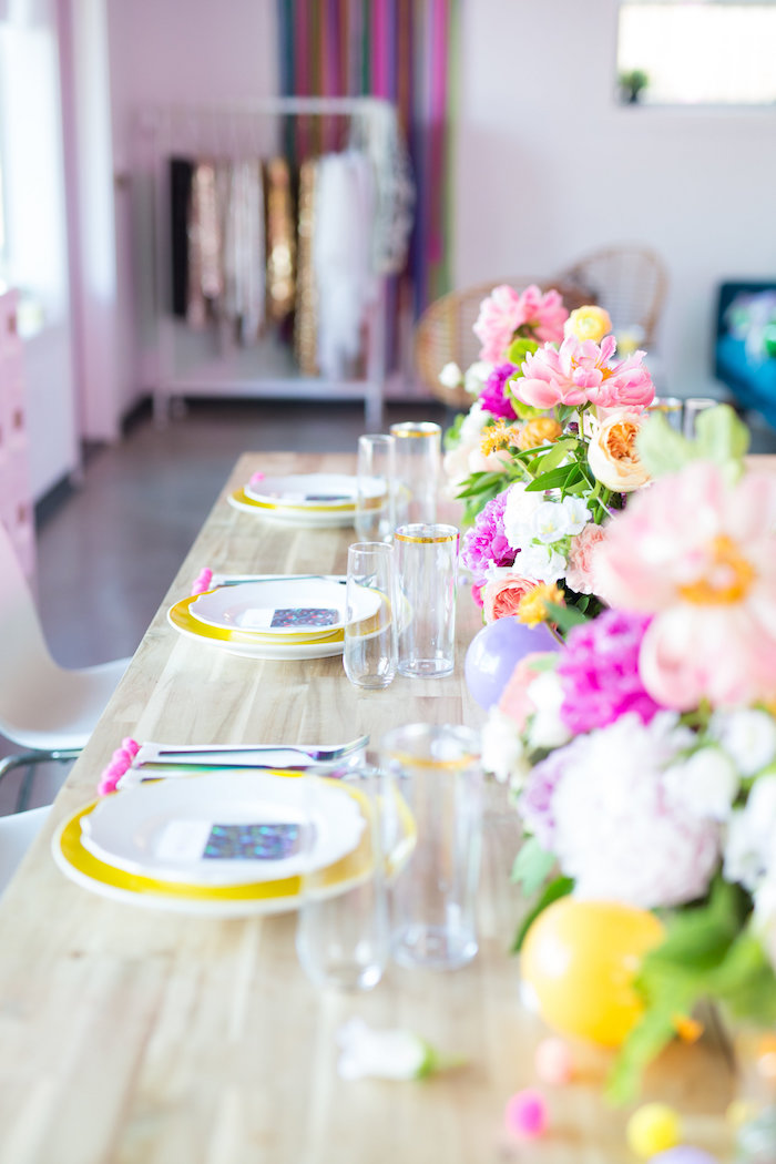 Modern floral guest tablescape from a Lisa Frank Inspired Rainbow Party on Kara's Party Ideas | KarasPartyIdeas.com (38)