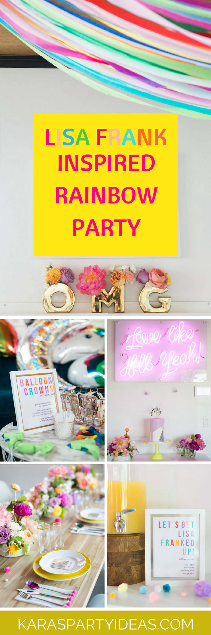 Lisa Frank Inspired Rainbow Party via Kara's Party Ideas - KarasPartyIdeas.com
