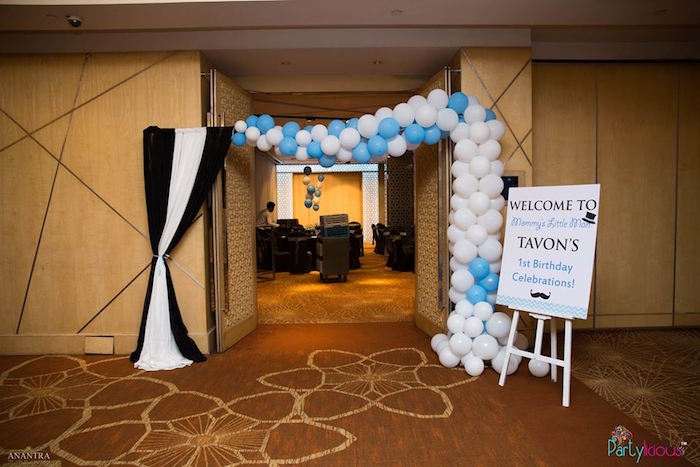 Balloon arch entrance to a Little Man Birthday Party on Kara's Party Ideas | KarasPartyIdeas.com (6)