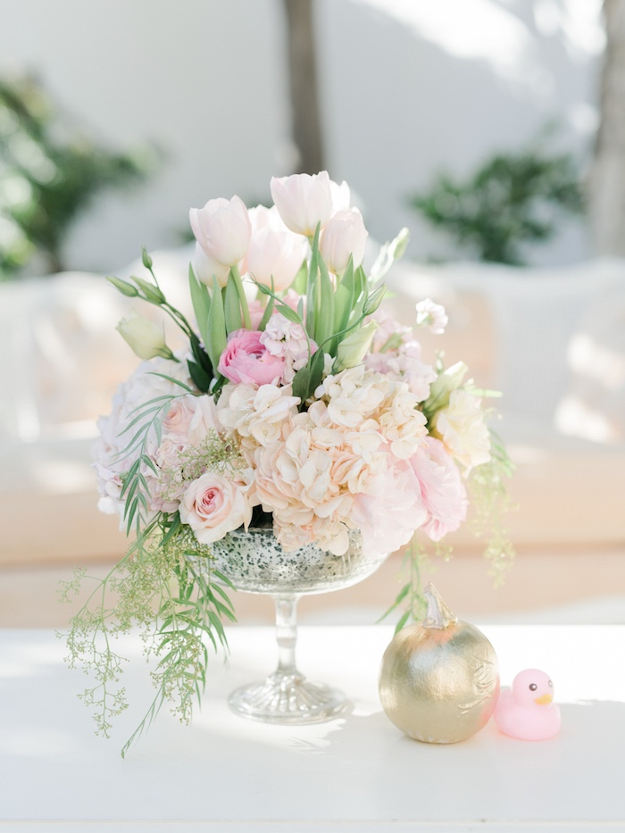 Pretty pastel floral arrangement from a Little Pumpkin Baby Shower on Kara's Party Ideas | KarasPartyIdeas.com (34)