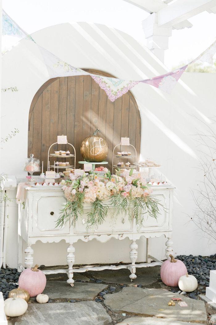 Pumpkin sweet table from a Little Pumpkin Baby Shower on Kara's Party Ideas   KarasPartyIdeas.com (27)