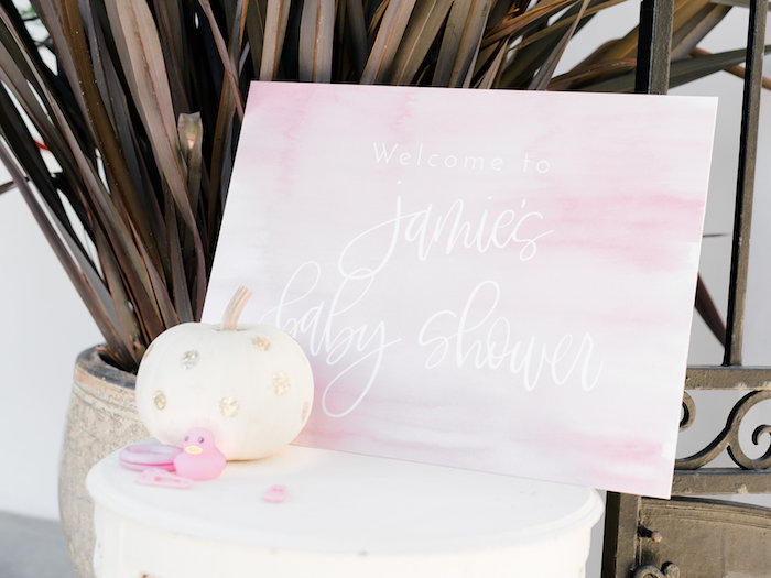 Pink watercolor welcome sign from a Little Pumpkin Baby Shower on Kara's Party Ideas   KarasPartyIdeas.com (44)