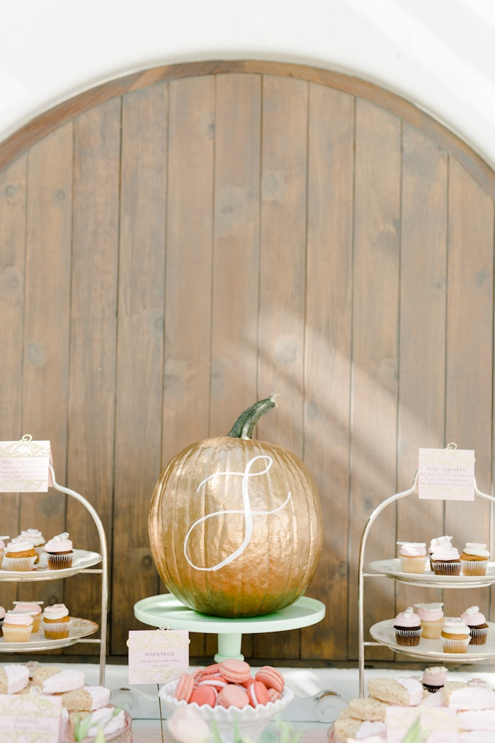 Lettered glam pumpkin centerpiece from a Little Pumpkin Baby Shower on Kara's Party Ideas | KarasPartyIdeas.com (24)