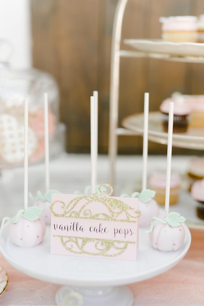 Pink pumpkin cake pops from a Little Pumpkin Baby Shower on Kara's Party Ideas   KarasPartyIdeas.com (22)