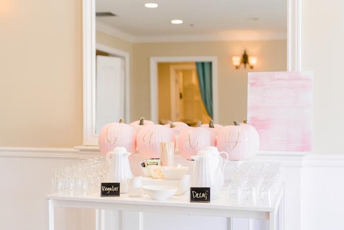 Pink pumpkin coffee bar from a Little Pumpkin Baby Shower on Kara's Party Ideas   KarasPartyIdeas.com (21)
