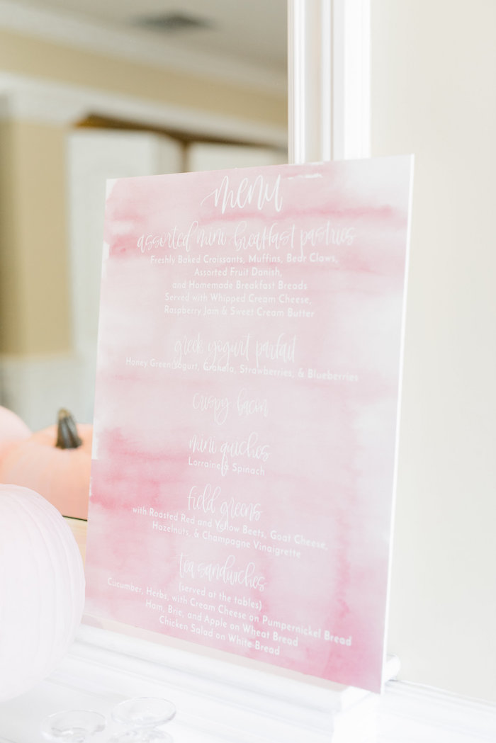 Pink watercolor menu from a Little Pumpkin Baby Shower on Kara's Party Ideas   KarasPartyIdeas.com (20)