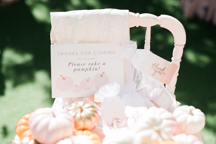 Pumpkin favor signage from a Little Pumpkin Baby Shower on Kara's Party Ideas | KarasPartyIdeas.com (13)