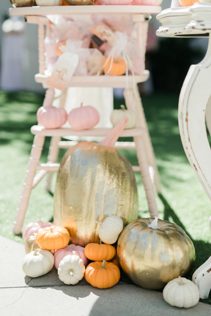 Glam pumpkins from a Little Pumpkin Baby Shower on Kara's Party Ideas | KarasPartyIdeas.com (11)