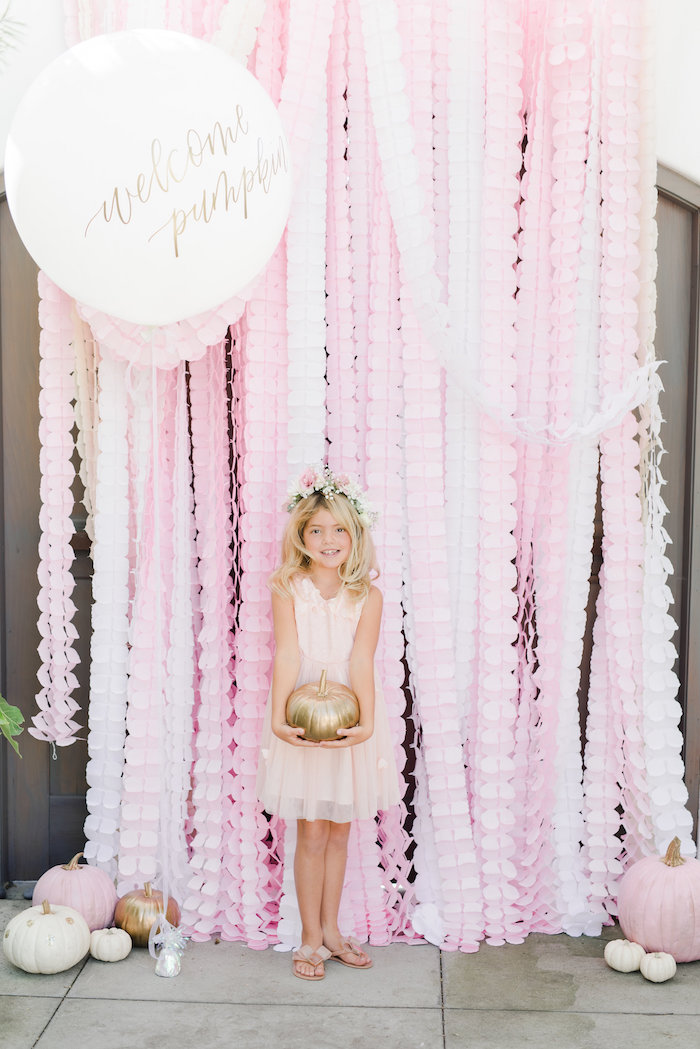 Pink frilly photo booth from a Little Pumpkin Baby Shower on Kara's Party Ideas | KarasPartyIdeas.com (9)