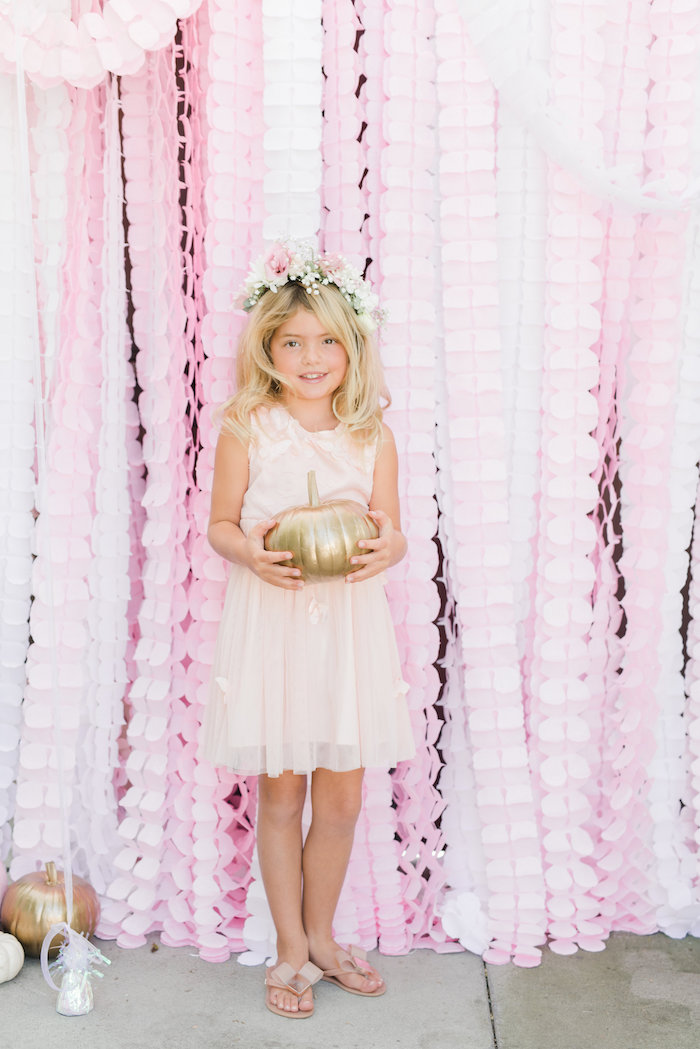 Pink frilly photo booth from a Little Pumpkin Baby Shower on Kara's Party Ideas | KarasPartyIdeas.com (8)