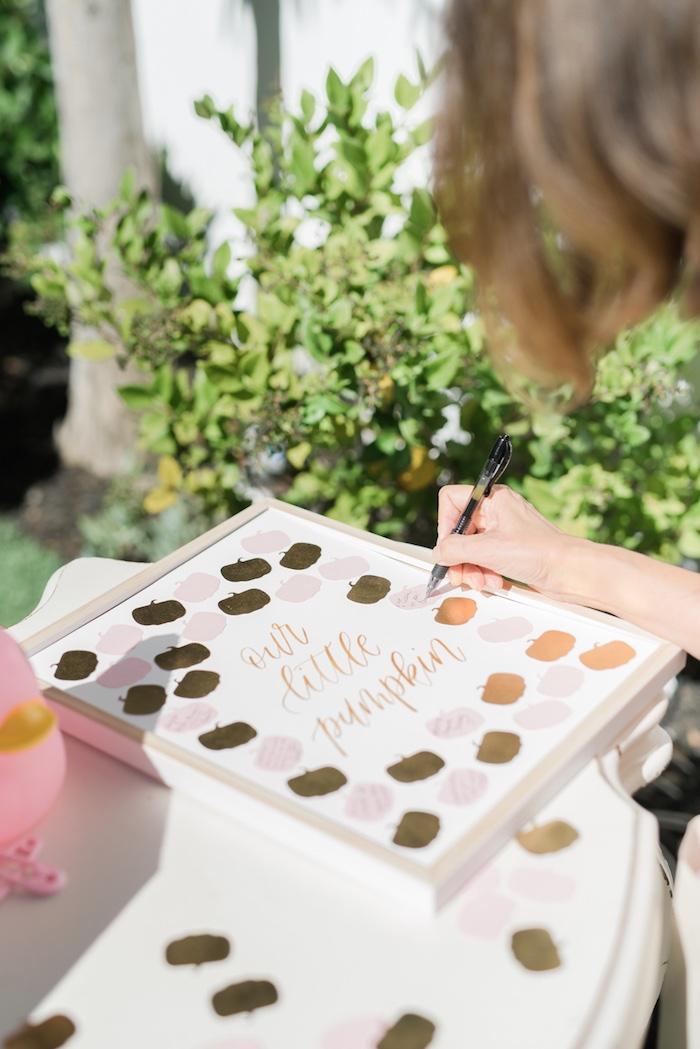 Pumpkin signing board from a Little Pumpkin Baby Shower on Kara's Party Ideas   KarasPartyIdeas.com (38)