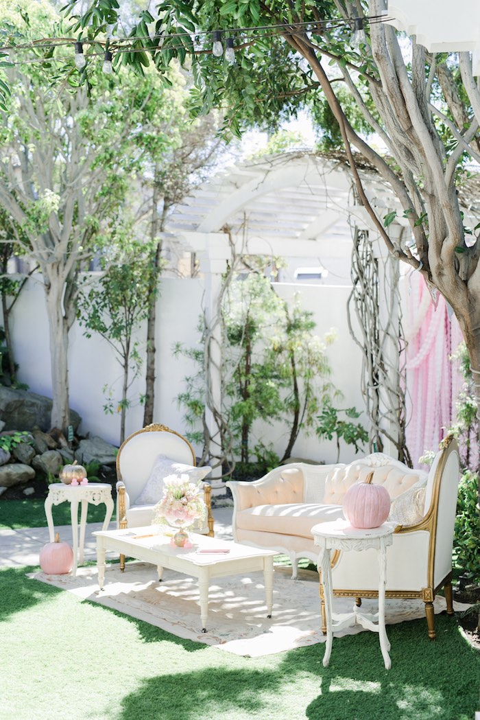 Lush lounge from a Little Pumpkin Baby Shower on Kara's Party Ideas | KarasPartyIdeas.com (37)