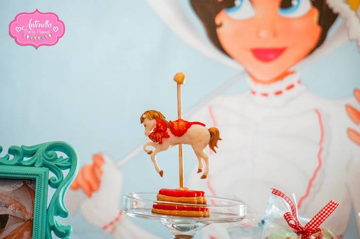 Carousel cookie stack from a Mary Poppins Birthday Party on Kara's Party Ideas | KarasPartyIdeas.com (8)