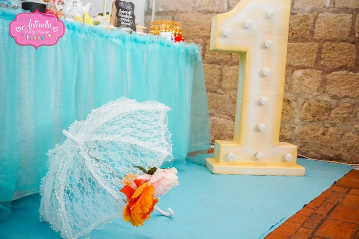 Lace parasol and marquee number from a Mary Poppins Birthday Party on Kara's Party Ideas | KarasPartyIdeas.com (5)