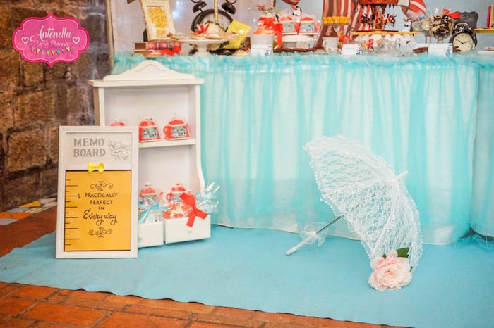Practically Perfect Signage and lace parasol from a Mary Poppins Birthday Party on Kara's Party Ideas | KarasPartyIdeas.com (19)