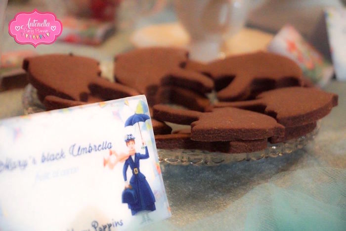 Chocolate umbrella cookies from a Mary Poppins Birthday Party on Kara's Party Ideas | KarasPartyIdeas.com (17)