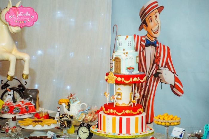 Burt wall and and cakescape from a Mary Poppins Birthday Party on Kara's Party Ideas | KarasPartyIdeas.com (16)