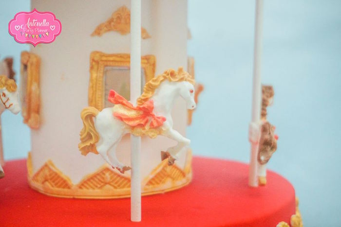 Carousel cake detail from a Mary Poppins Birthday Party on Kara's Party Ideas | KarasPartyIdeas.com (14)