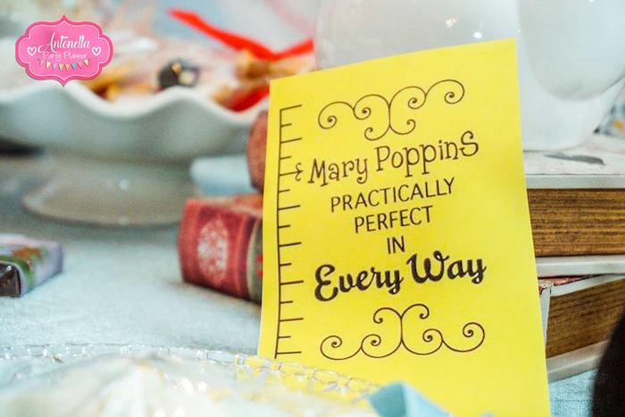 Mary Poppins' Measuring Tape Signage from a Mary Poppins Birthday Party on Kara's Party Ideas | KarasPartyIdeas.com (13)