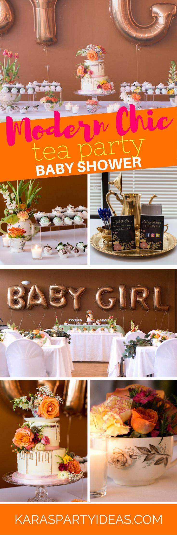 Modern Chic Tea Party Baby Shower via Kara's Party Ideas - KarasPartyIdeas.com
