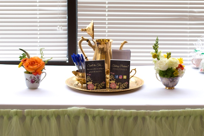 Welcome table from a Modern Chic Tea Party on Kara's Party Ideas | KarasPartyIdeas.com (24)
