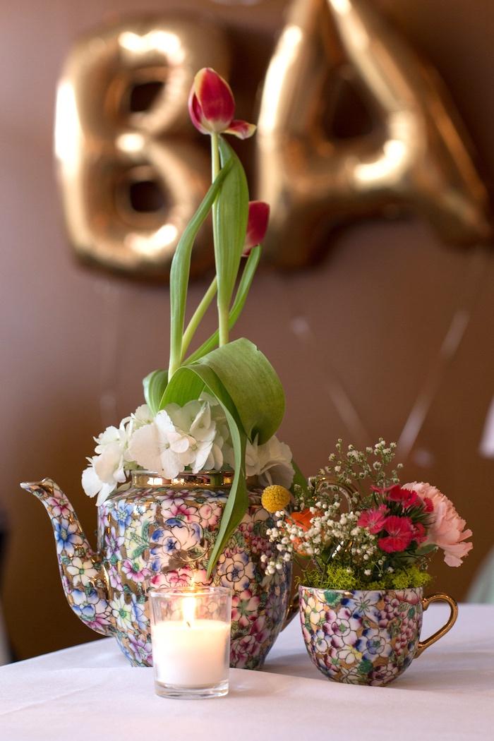 Tea cup floral arrangements from a Modern Chic Tea Party on Kara's Party Ideas | KarasPartyIdeas.com (23)