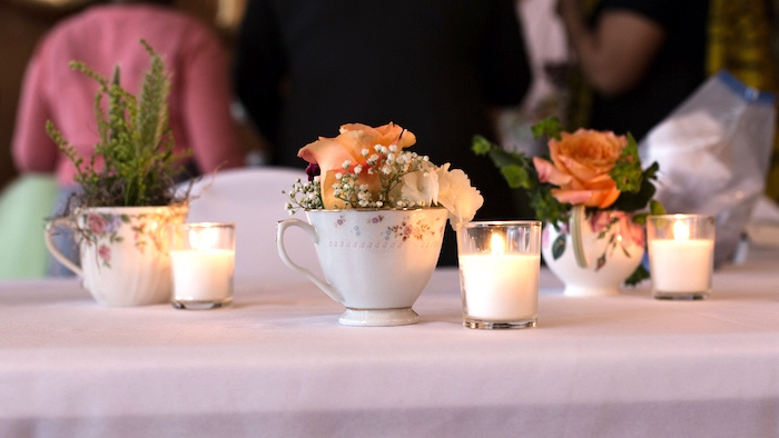 Guest table centerpieces from a Modern Chic Tea Party on Kara's Party Ideas | KarasPartyIdeas.com (22)