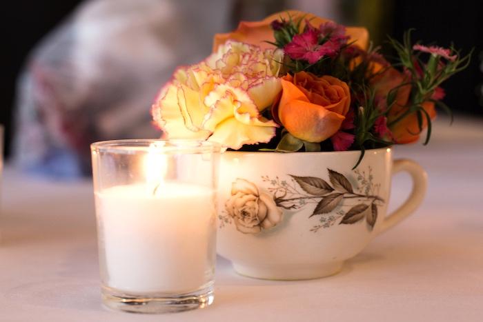 Floral tea cup centerpiece from a Modern Chic Tea Party on Kara's Party Ideas | KarasPartyIdeas.com (21)