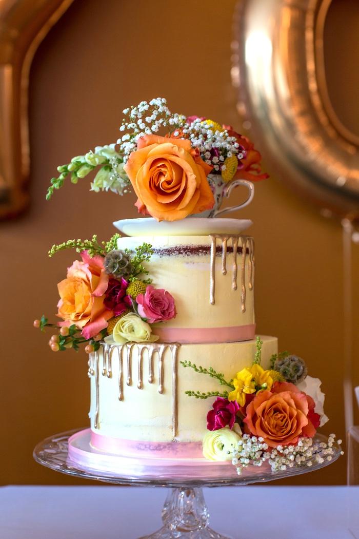 Floral drip cake from a Modern Chic Tea Party on Kara's Party Ideas | KarasPartyIdeas.com (20)
