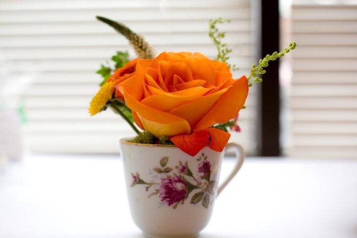 Tea cup floral arrangement from a Modern Chic Tea Party on Kara's Party Ideas | KarasPartyIdeas.com (34)
