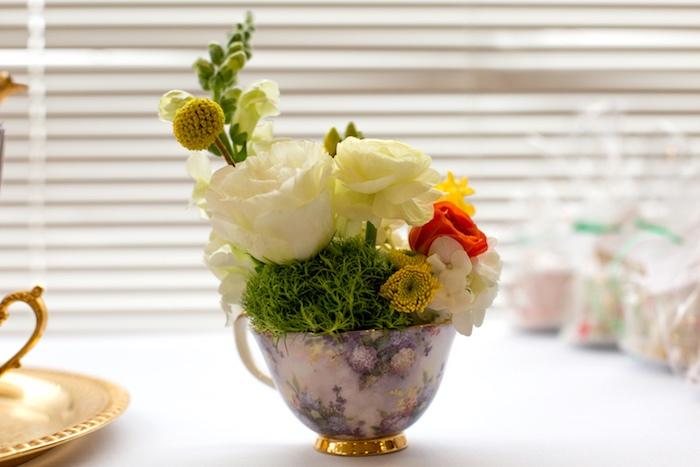 Tea cup flower arrangement from a Modern Chic Tea Party on Kara's Party Ideas | KarasPartyIdeas.com (33)