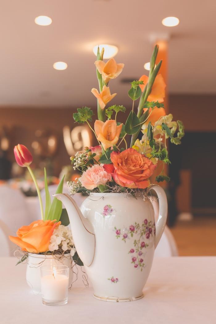 Tea kettle floral arrangement from a Modern Chic Tea Party on Kara's Party Ideas | KarasPartyIdeas.com (28)