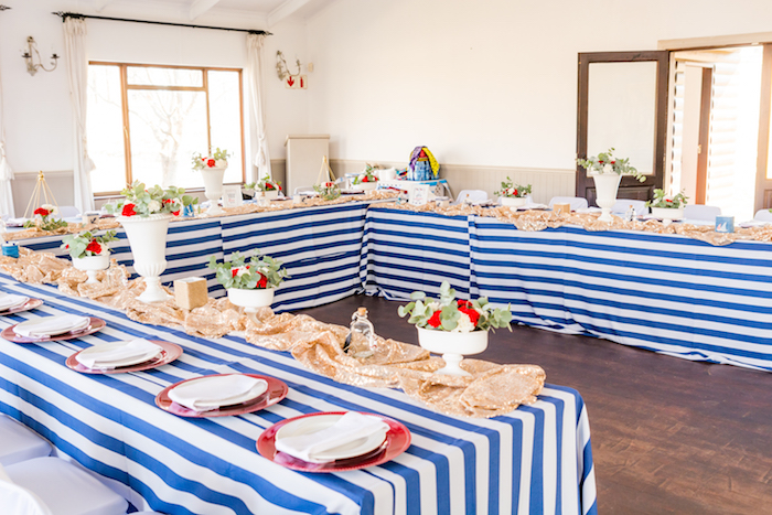 Guest tables from a Nautical Glam Baby Shower on Kara's Party Ideas | KarasPartyIdeas.com (23)