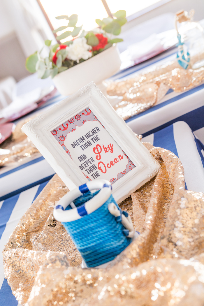 Guest table signage + decor from a Nautical Glam Baby Shower on Kara's Party Ideas | KarasPartyIdeas.com (22)