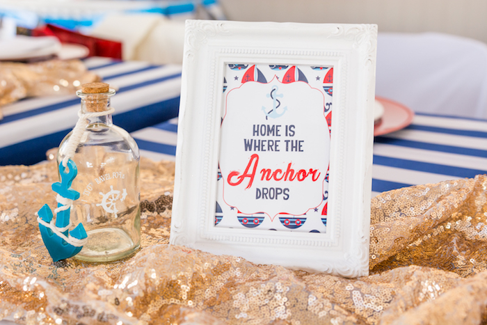 Signage + decor from a Nautical Glam Baby Shower on Kara's Party Ideas | KarasPartyIdeas.com (21)