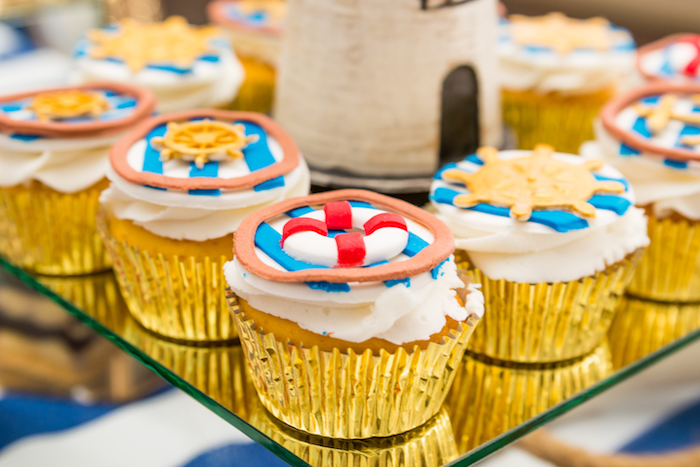 Cupcakes from a Nautical Glam Baby Shower on Kara's Party Ideas | KarasPartyIdeas.com (20)