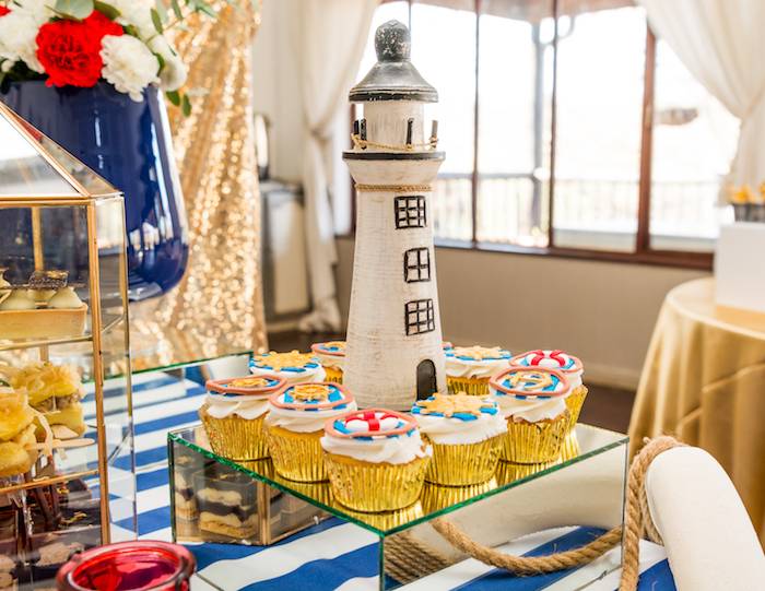 Lighthouse cupcake pedestal from a Nautical Glam Baby Shower on Kara's Party Ideas | KarasPartyIdeas.com (19)