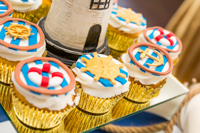 Nautical cupcakes from a Nautical Glam Baby Shower on Kara's Party Ideas | KarasPartyIdeas.com (18)
