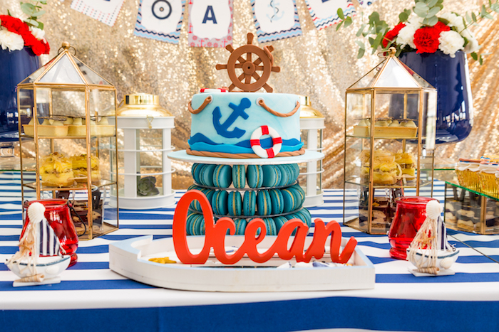 Cakescape from a Nautical Glam Baby Shower on Kara's Party Ideas | KarasPartyIdeas.com (16)