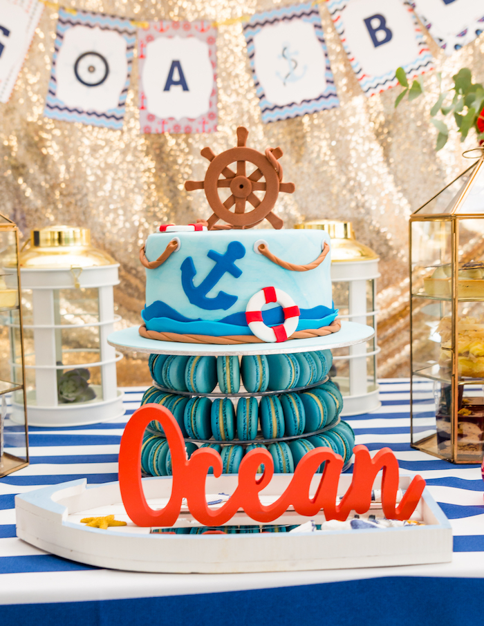Nautical cake from a Nautical Glam Baby Shower on Kara's Party Ideas | KarasPartyIdeas.com (15)
