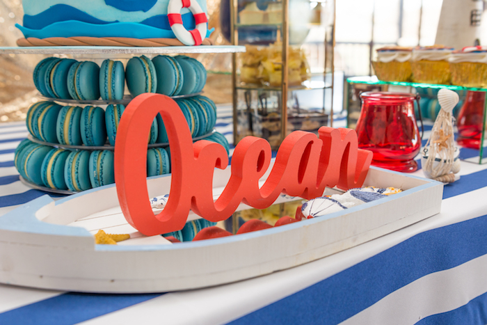 Sail boat lettering from a Nautical Glam Baby Shower on Kara's Party Ideas | KarasPartyIdeas.com (32)
