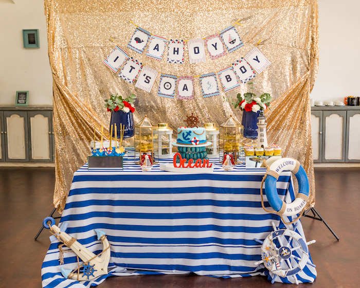 Dessert table from a Nautical Glam Baby Shower on Kara's Party Ideas | KarasPartyIdeas.com (13)