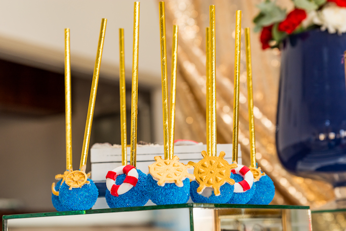 Cake pops from a Nautical Glam Baby Shower on Kara's Party Ideas | KarasPartyIdeas.com (10)