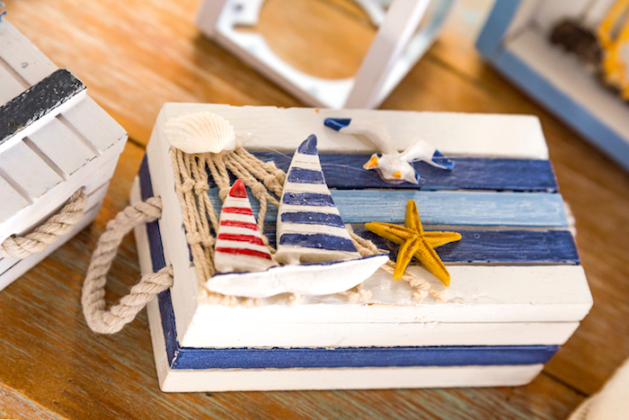 Nautical box from a Nautical Glam Baby Shower on Kara's Party Ideas | KarasPartyIdeas.com (6)
