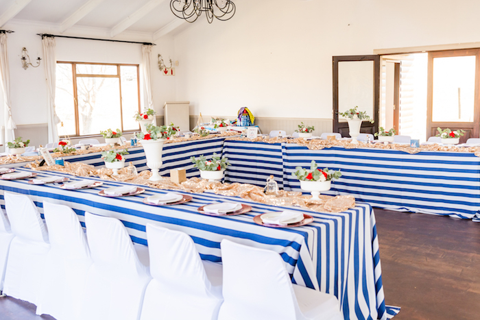 Guest tables from a Nautical Glam Baby Shower on Kara's Party Ideas | KarasPartyIdeas.com (4)