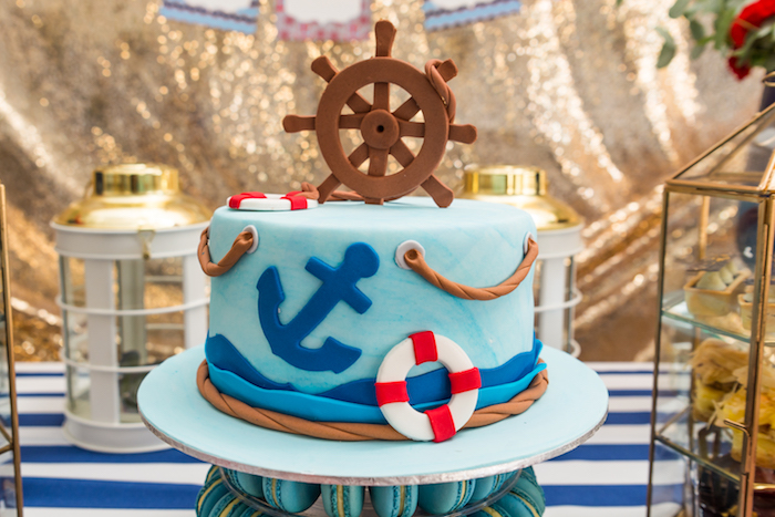 Nautical cake from a Nautical Glam Baby Shower on Kara's Party Ideas | KarasPartyIdeas.com (31)
