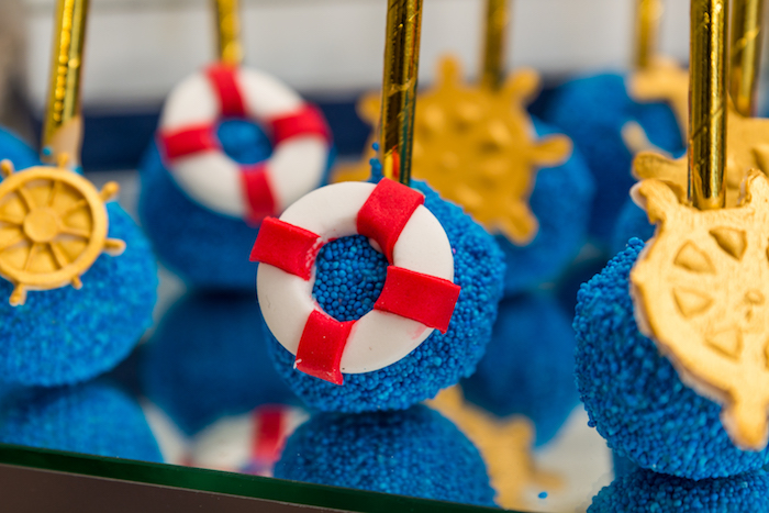 Life preserver cake pop from a Nautical Glam Baby Shower on Kara's Party Ideas | KarasPartyIdeas.com (30)