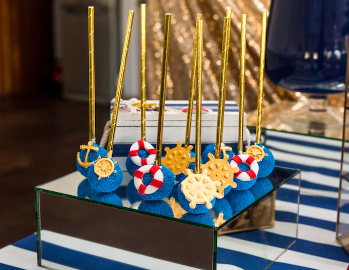 Nautical cake pops from a Nautical Glam Baby Shower on Kara's Party Ideas | KarasPartyIdeas.com (29)