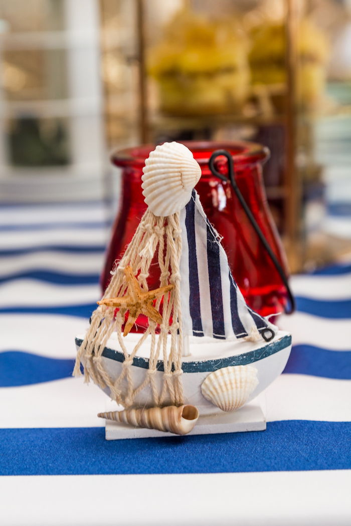 Sail boat decoration from a Nautical Glam Baby Shower on Kara's Party Ideas | KarasPartyIdeas.com (28)