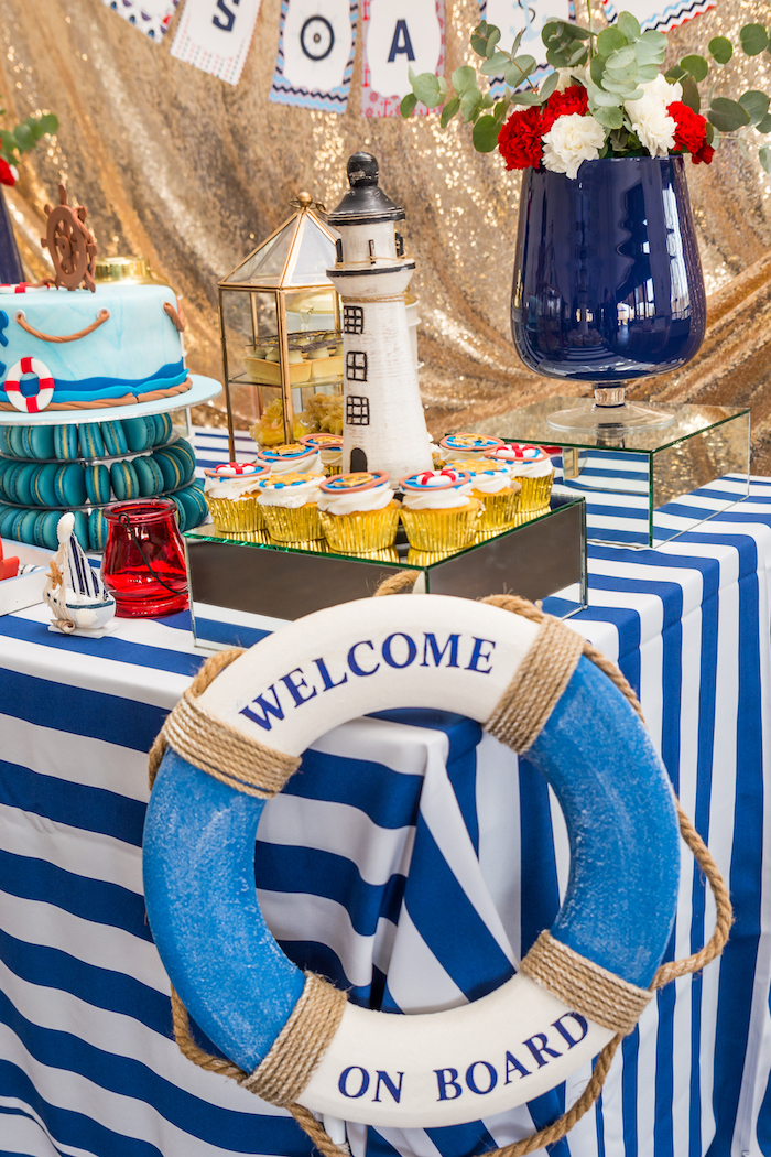 Welcome life preserver from a Nautical Glam Baby Shower on Kara's Party Ideas | KarasPartyIdeas.com (26)